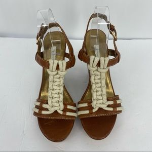 CYNTHIA VINCENT Wedge Sandals Brown Leather Boho
